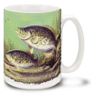 These White Crappies look hungry and ready to strike that jig! Fish up some coffee for your White Crappies Fishing Coffee Mug! This brightly decorated Fishing for Crappie Mug is dishwasher and microwave safe and celebrates fishing mug holds 15oz. of your favorite coffee.