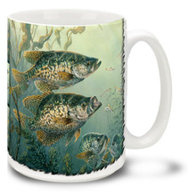 These Black Crappies are on the prowl and ready to strike that line! Reel in some coffee with your Black Crappies Fishing Coffee Mug! This brightly decorated Fishing for Black Crappie Mug is dishwasher and microwave safe and celebrates fishing mug holds 15oz. of your favorite coffee.