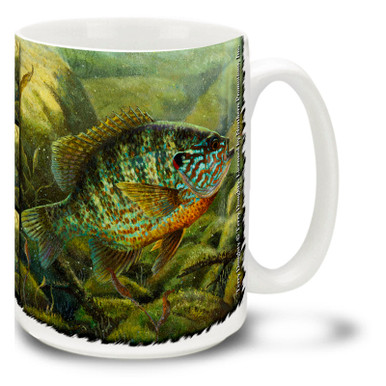 This Pumpkinseed Sunfish looks pretty interested in something, could it be what's on the end of your fly rod line? Lure in some coffee with your Pumpkinseed Fishing Coffee Mug! This brightly decorated Pumpkinseed Fish Mug is dishwasher and microwave safe and celebrates fishing mug holds 15oz. of your favorite coffee.