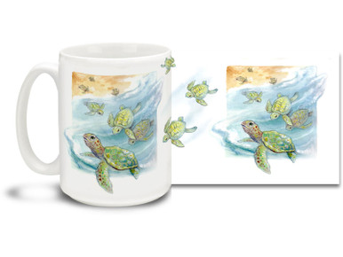 What could be cuter than a baby sea turtle? Why a whole bunch of them, of course! Tread lightly with this Baby Sea Turtle Mug. 15oz Baby Sea Turtle Coffee Mug is durable, dishwasher and microwave safe. Personalize it with your name for only $3 more!