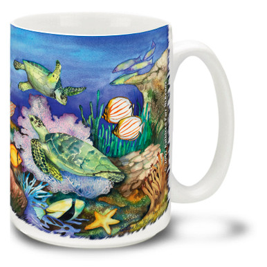 Pastel watercolor tones give a cool, relaxing feel to this Sea Turtle Coffee Mug set in a bustling coral reef. Make a splash with this Green Sea Turtle Mug! 15oz Coffee Cup is dishwasher and microwave safe. Personalize it with your name for only $3 more!