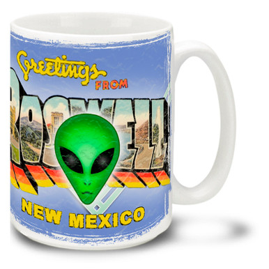 Aliens are real. ...real cool, that is! The truth is out there with this colorful Greetings From Roswell Alien mug! Featuring retro style Roswell, New Mexico graphic and extraterrestrial, this Alien Coffee Mug is dishwasher and microwave safe and holds 15oz. of your favorite coffee.