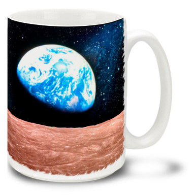 The beautiful blue globe of the Earth rising over the horizon of our Moon is one of the most inspiring sights there is! Start your day inspired with this vivid Earthrise Coffee Mug!  Bright, vivid Earth and Moon Mug is durable, dishwasher and microwave safe and holds 15oz. of your favorite coffee.