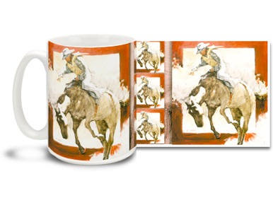 How long can you ride this wild bronco? Set a rodeo record with this cowboy mug! Cowboy Bronco Rider coffee Mug is dishwasher and microwave safe.