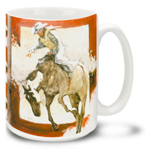 Bronco Rider Cowboy on Horse - 15oz Mug