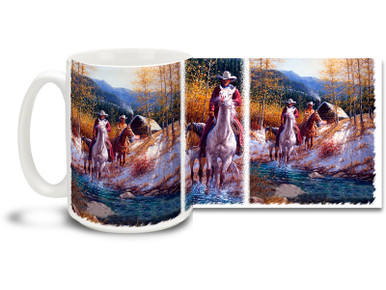 Longing for the fresh, crisp mountain air and the great outdoors? Ride like lightning with this colorful horse and cowboys mug! Morning in New Mexico Cowboys coffee Mug is durable, dishwasher and microwave safe.