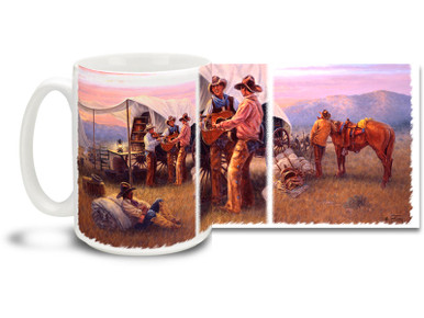We're not picky, we like both kinds of music - Country AND Western. Sing a cheerful morning song with this singing cowboys mug! Chuckwagon Serenade Cowboys coffee Mug is durable, dishwasher and microwave safe.