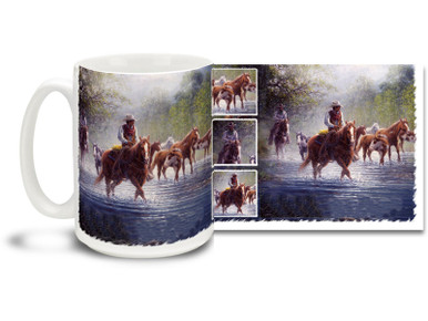 Get ready for the long drive with this cowboys and wild horses mug! Rocky Creek Colts coffee Mug is dishwasher and microwave safe.