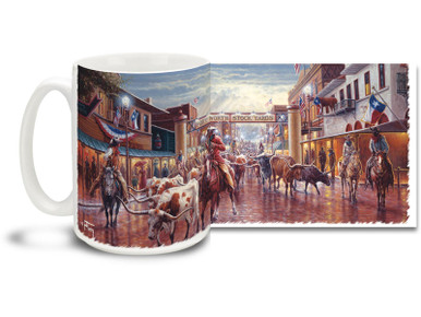Got plans as big as Texas? Round up your morning with this Fort Worth Stockyards mug! Featuring an old west feel, Cowtown Fort Worth Stockyards Texas coffee Mug is dishwasher and microwave safe.