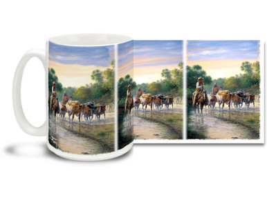 Round yourself up some coffee and get ready for the morning with this rugged cattle drive horse and cowboy mug! Pickin' Up Strays Cowboys coffee Mug is dishwasher and microwave safe.