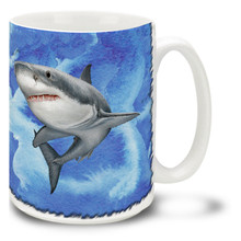 """You might need a bigger boat with this Great White Shark mug! Wrap your """"Jaws"""" around this Great White Shark Coffee Mug. Great White Shark Mug is dishwasher and microwave safe and celebrates salt water fishing mug holds 15oz. of your favorite coffee."""