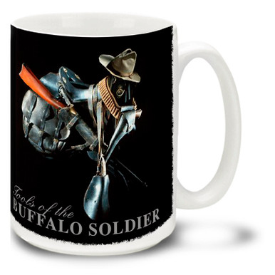The Buffalo Soldiers made many lasting contributions to the history of the United States Army as well as our nation as a whole. Buffalo Soldiers coffee mugs are a great way to show your pride in this proud moment in history! This Tools of the Buffalo Soldiers mug is durable, dishwasher and microwave safe and is sure to be a favorite!