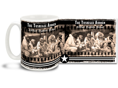 "Pilots of the 332d Fighter Group, ""Tuskegee Airmen,"" the elite, all-African American 332d Fighter Group pose for a wartime photo. Tuskegee Airmen coffee mugs are a great way to show your pride in this proud moment in history! This Tuskegee Airmen mug is dishwasher and microwave safe and is sure to be a favorite!"