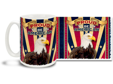 It's never out of fashion to be patriotic! This Proud to Be an American coffee mug features a noble Bald Eagle and retro styling. Colorful American Pride mug is dishwasher and microwave safe and is sure to be a favorite!