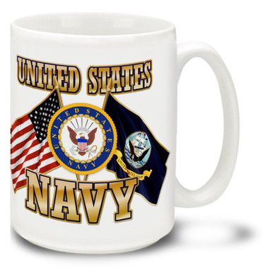 United States Navy Cross Flags coffee mug features United States and U.S. Navy Flags and official Air Force Emblem. This Navy mug is dishwasher and microwave safe.