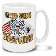 United States Coast Guard Cross Flags coffee mug features United States and U.S. Coast Guard Flags and official Coast Guard Emblem. This Coast Guard mug is dishwasher and microwave safe.