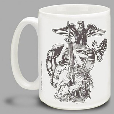 Infantry soldiers in the ground forces of the U.S. Marine Corps are the backbone of the Marines! Show some USMC pride with this Marines coffee mug for active duty and proud veteran Marines featuring art from action artist Dick Kramer. This Marines mug is dishwasher and microwave safe.