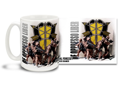 The United States Army Special Forces are a special operations force tasked with unconventional warfare as well as foreign internal defense, special reconnaissance, direct action, and counter-terrorism. Show some Army pride with this Army Special Forces coffee mug for active duty and proud veteran Army Personnel featuring art from action artist Dick Kramer. This Army Special Forces mug is dishwasher and microwave safe.