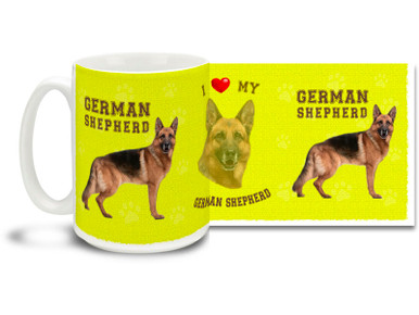 Love your German Shepherd? You'll love this German Shepherd Coffee mug! German Shepherd mug is dishwasher and microwave safe.