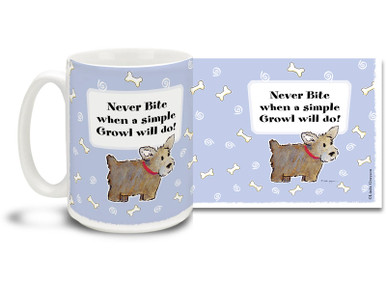 The wisest dogs will tell you: Never Bite When a Simple Growl Will Do! Get all metaphysical with this Cartoon dog mug. Colorful 15oz cartoon dog coffee mug is dishwasher and microwave safe.