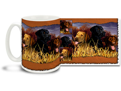 Beautiful portrait of some loyal Labrador Retrievers, just waiting to do some retrieving! If you love your Lab, you'll love this hunting themed Labrador Retriever coffee mug! Colorful 15oz Labrador mug is dishwasher and microwave safe.