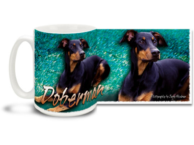 If you love your Dobie, you'll love this Artsy Doberman coffee mug! Colorful 15oz Doberman mug is dishwasher and microwave safe.