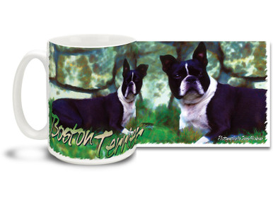 If you love your Boston Terrier, you'll love this Artsy Boston Terrier coffee mug! Colorful 15oz Boston Terrier mug is dishwasher and microwave safe.