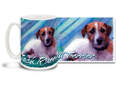 If you love your Jack Russell Terrier, you'll love this Artsy Jack Russell Terrier coffee mug! Colorful 15oz Jack Russell Terrier mug is dishwasher and microwave safe.