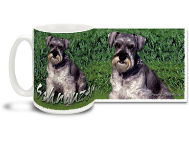 If you love your Schnauzer, you'll love this Artsy Schnauzer coffee mug! Colorful 15oz Schnauzer mug is dishwasher and microwave safe.