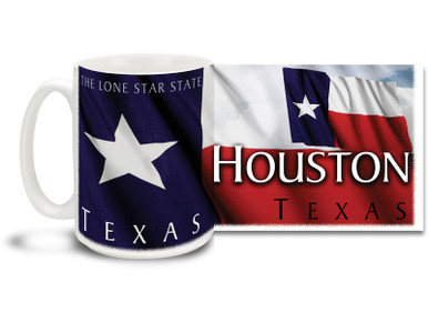 It don't get any bigger than Texas, and in Texas it don't get any bigger than Houston, the fourth largest city in America! From the sprawling downtown with beautiful tall buildings to the port on the beautiful Gulf of Mexico, Houston is a destination worthy of the greatest legends! Show 'em the city you love with a Houston coffee mug! Colorful Texas Flag makes this Houston mug sure to be a favorite!