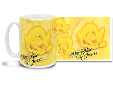 Sing the songs of yore, And the Yellow Rose of Texas shall be yours forevermore! Brighten up your morning with a Yellow Rose of Texas coffee mug! Colorful Roses makes this Yellow Rose of Texas mug sure to be a favorite!