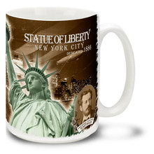 Statue of Liberty with Manhattan Skyline Vintage Styling - 15oz Mug