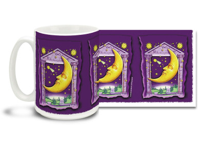 Let the moon follow you everywhere with this classic Mystical Moon Mug! This friendly moon is a friend of night owls everywhere... Mystical Moon coffee mug is dishwasher and microwave safe and sure to be a favorite!