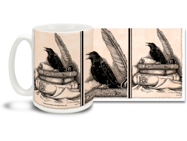 """Hit the books after midnight with this Books and Raven mug featuring gothic styling! Books and Raven coffee mug is dishwasher and microwave safe and sure to be a favorite. Quoth the Raven """"Buy a Mug!"""""""