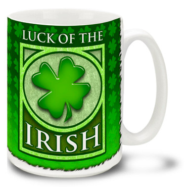Start looking over a four-leaf clover with this lovely green Luck of the Irish Mug. Vivid green Luck of the Irish coffee mug is dishwasher and microwave safe and sure to be a favorite.