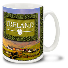 The lush green rolling hills and quaint farmlands of Ireland make it a popular destination, and this Ireland Mug captures the beauty and mystical feel of this magical place! Vivid Ireland coffee mug is dishwasher and microwave safe and sure to be a favorite.