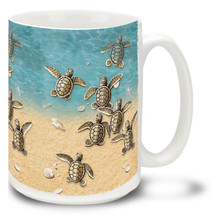 Baby Sea Turtles on the Beach - 15oz Mug
