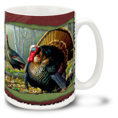 You'll just gobble up this Woodland Turkey mug! Colorful 15oz Turkey coffee mug features a proud pair of turkeys and is dishwasher and microwave safe.