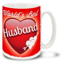 Show him he's the best with a World's Best Husband coffee mug! Vivid red colors and happy plump heart on this 15 oz World's Best Husband mug will make this dishwasher and microwave safe coffee cup a morning favorite!