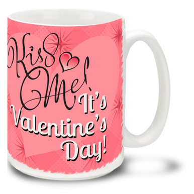 If you're in the market for a kiss, chances are you'll get on with this Kiss Me It's Valentine's Day coffee mug! No guarantees, but this mug has been known to work all year-round... Vivid pink colors and happy plump heart on this 15 oz Kiss Me It's Valentine's Day mug will make this dishwasher and microwave safe coffee cup a morning favorite!