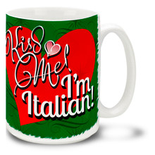 If you're in the market for a kiss, chances are you'll get on with this Kiss Me I'm Italian coffee mug. That's Amore!  Vivid colors and happy plump heart on this 15 oz Kiss Me I'm Italian mug will make this dishwasher and microwave safe coffee cup a morning favorite!