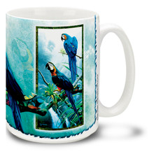 Blue and Gold Macaw on the River - 15oz Mug