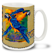 Elegant Blue and Gold Macaws - 15oz Mug