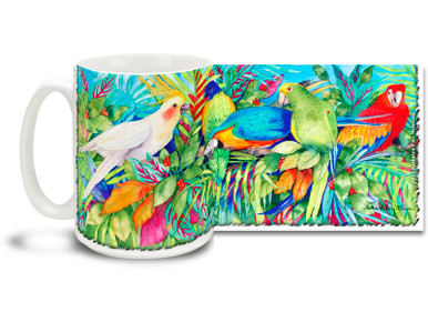 Enjoy a temperate aviary with this Vivid Watercolor Tropical Birds mug featuring macaws, parrots and cockatiels! With freewheeling watercolor style and a pretty rainbow of birds, 15 oz Vivid Watercolor Tropical Birds coffee mug is dishwasher and microwave safe.