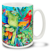 Vivid Watercolor Tropical Birds - 15oz Mug