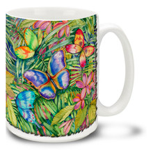 Vivid Watercolor Tropical Butterflies - 15oz Mug