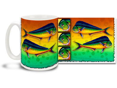 "Get in a tropical spirit with this colorful Mahi Mahi mug! The ""mahi"" is also called a dolphin fish by some, and considered delicious by all! With vivid rainbow colors, 15 oz Mahi Mahi tropical lifestyle coffee mug is dishwasher and microwave safe."