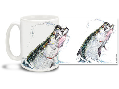 Get into the deep sea spirit with this fishing themed Tarpon mug! The Tarpon is a game fishing favorite and can put up a fight that lasts for hours! 15 oz Tarpon fishing coffee mug is dishwasher and microwave safe. By world renowned salt and freshwater fishing artist Joe Suroviec.