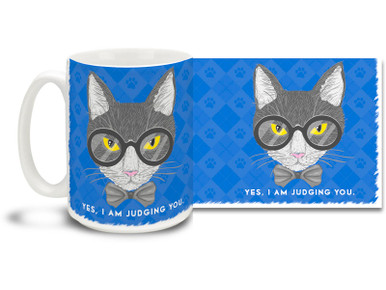 Don't leave any doubt with this cat mug with attitude! Hip Cat lovers and catty hipsters everywhere would enjoy a cup of java in this clever blue Cat Mug... 15oz cartoon cat coffee mug is dishwasher and microwave safe.