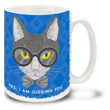 Yes, I Am Judging You Tuxedo Cat - 15oz. Mug